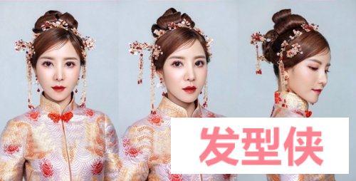 选春节假结婚的妹纸中式新娘发型 秀禾服发型比知否里的喜服发型好看一百倍